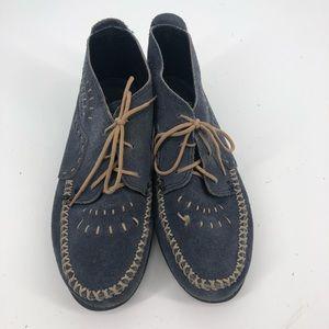Vintage blue Minnetonka Chukka booties lace up 8